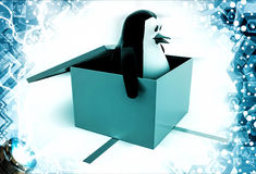 3d penguin coming out of gift box illustration Royalty Free Stock Photography