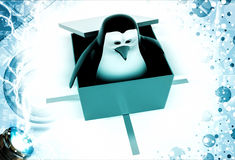 3d penguin coming out of gift box illustration Royalty Free Stock Photo