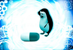 3d penguin confused big capsule of medicine illustration Royalty Free Stock Photo