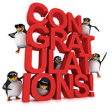 3d Penguin Congratulations Stock Images