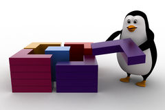 3d penguin connect and make square from small piecces concept Royalty Free Stock Photography