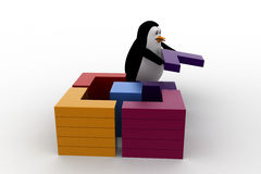 3d penguin connect and make square from small piecces concept Stock Photo