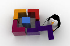 3d penguin connect and make square from small piecces concept Stock Photos