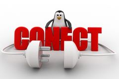 3d penguin with connect text in red and plug pin concept Stock Images