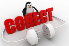 3d penguin with connect text in red and plug pin concept Stock Photo