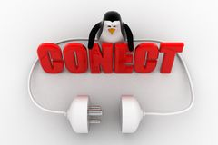 3d penguin with connect text in red and plug pin concept Royalty Free Stock Images
