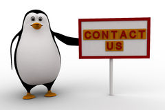 3d penguin with contact us sign board concept Royalty Free Stock Images