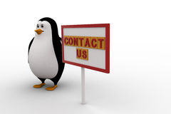 3d penguin with contact us sign board concept Royalty Free Stock Photo