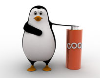 3d penguin with cool battery concept Royalty Free Stock Images