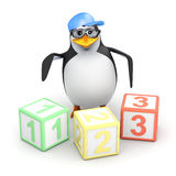 3d Penguin with counting blocks Stock Image
