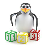 3d Penguin counts to three Royalty Free Stock Photo