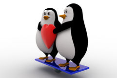 3d penguin couple holding heart concept Royalty Free Stock Photography