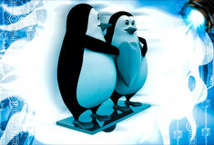 3d penguin couple holding heart illustration Royalty Free Stock Images