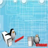 3d penguin with cpu storage Illustration Royalty Free Stock Image
