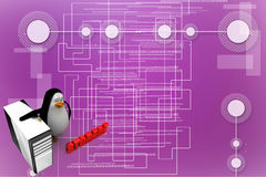 3d penguin with cpu storage Illustration Stock Photos