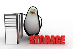 3d penguin with cpu storage Royalty Free Stock Photography