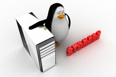 3d penguin with cpu storage Stock Images
