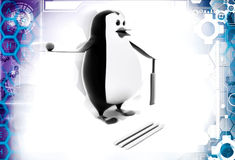 3d penguin with cricket bat and ball illustration Royalty Free Stock Image