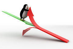 3d penguin cut red arrow using green arrow concept Royalty Free Stock Photos
