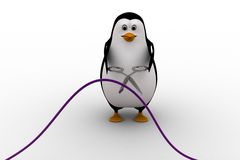 3d penguin cut wire with cisor concept Royalty Free Stock Image