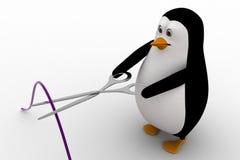 3d penguin cut wire with cisor concept Stock Photos