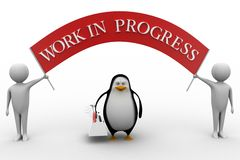 3d penguin and 3d man  work illustration Royalty Free Stock Images