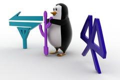 3d penguin data tranfer methods icon concept Stock Images