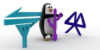 3d penguin data tranfer methods icon concept Stock Photos
