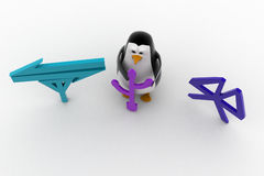 3d penguin data tranfer methods icon concept Royalty Free Stock Images