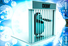 3d penguin in debt jail and holding bars illustration Royalty Free Stock Photography