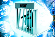 3d penguin in debt jail and holding bars illustration Stock Photos