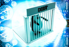 3d penguin in debt jail and holding bars illustration Royalty Free Stock Photos