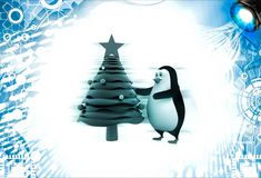 3d penguin decorate with christmas tree illustration Stock Photo