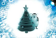 3d penguin decorate with christmas tree illustration Stock Photos