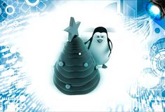 3d penguin decorate with christmas tree illustration Stock Photography