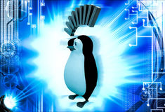 3d penguin in deep thought illustration Stock Photo
