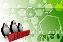 3d penguin with we did it concept Illustration Stock Images