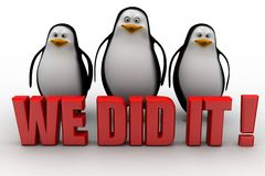 3d penguin with we did it concept Royalty Free Stock Photos