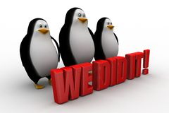 3d penguin with we did it concept Royalty Free Stock Images