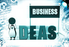 3d penguin displaying business idea illustration Royalty Free Stock Images