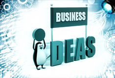3d penguin displaying business idea illustration Stock Images