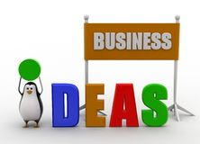 3d penguin displaying idea concept Stock Photo