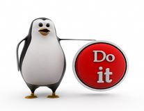 3d penguin do it concept Stock Image