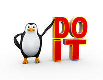 3d penguin with do it text Stock Photography