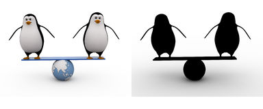 3d penguin doing balance on earth seesaw concept collections with alpha and shadow channel Royalty Free Stock Images
