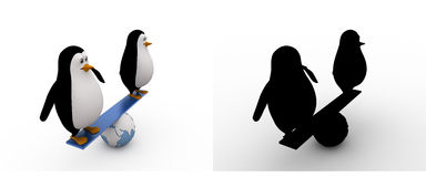 3d penguin doing balance on earth seesaw concept collections with alpha and shadow channel Royalty Free Stock Photo