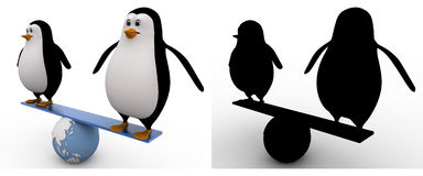 3d penguin doing balance on earth seesaw concept collections with alpha and shadow channel Royalty Free Stock Photography