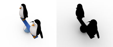 3d penguin doing balance on earth seesaw concept collections with alpha and shadow channel Royalty Free Stock Image
