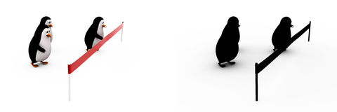 3d penguin doing race and about to cut ribbon concept collections with alpha and shadow channel Royalty Free Stock Photo