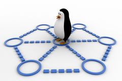 3d penguin doing race and about to cut ribbon concept Stock Photos